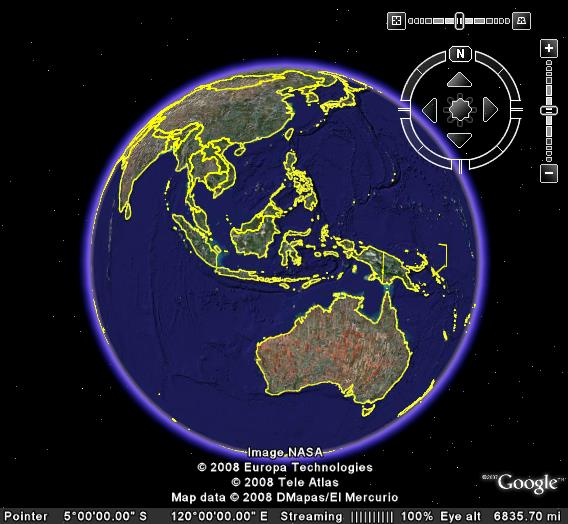 Buka aplikasi Google earth